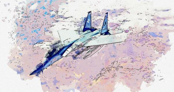 Wall Art - Painting - A U.s. Air Force F-15c Eagle 2 Watercolor By Ahmet Asar by Ahmet Asar