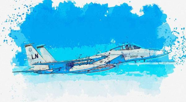 Wall Art - Painting - A U.s. Air Force F-15c Eagle Watercolor By Ahmet Asar by Ahmet Asar
