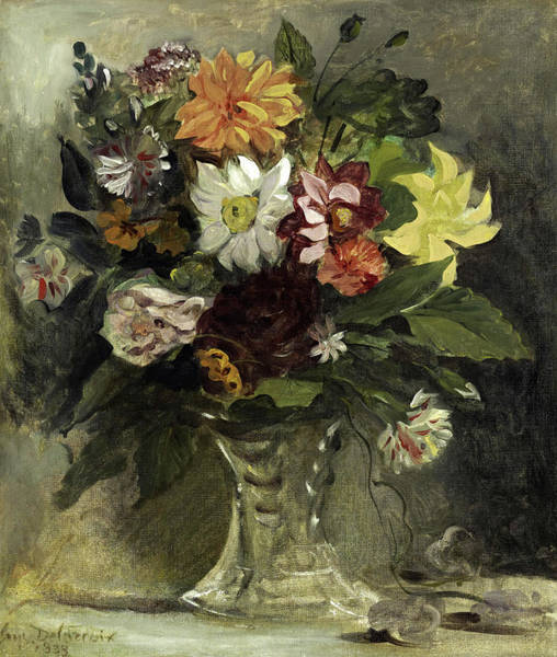 Wall Art - Painting - A Vase Of Flowers, 1833 by Eugene Delacroix