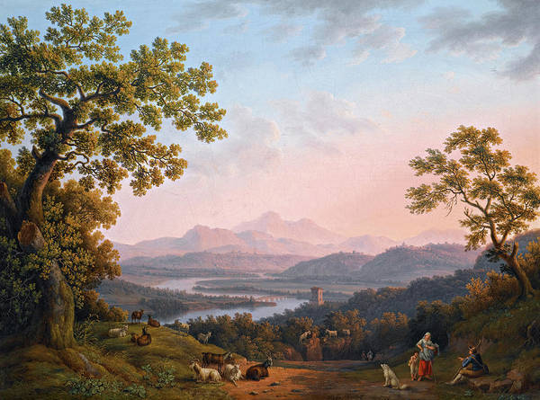 Wall Art - Painting - A View Along The Valley Of The River Tiber Towards Poggio Mirteto by Jakob Philipp Hackert
