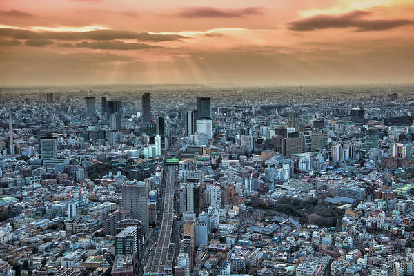 Wall Art - Photograph - A View From The Mori Building Of Sunset by Sheila Haddad