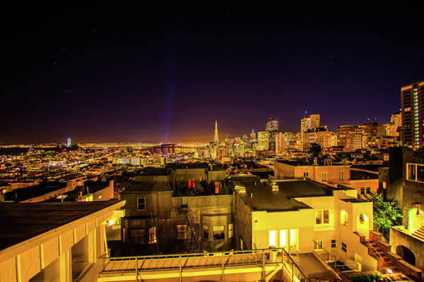 Wall Art - Photograph - A View From The Roof Terrace At Night Shows San Francisco And Ro by Kim Vermaat