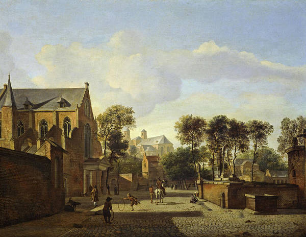 Wall Art - Painting - A View In Cologne With The Karthausekirche And St. Panthaleon by Jan van der Heyden