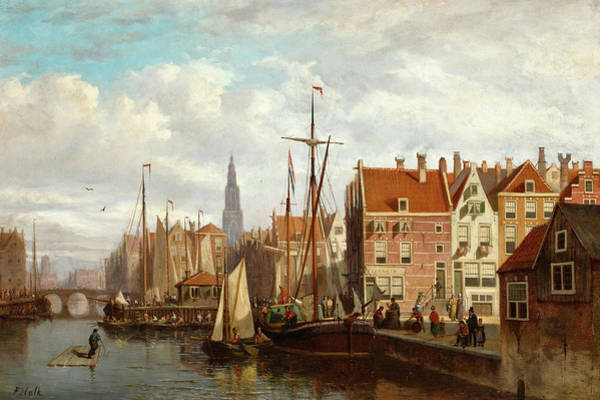 Wall Art - Painting - A View Of Amsterdam by Johannes Frederik Hulk