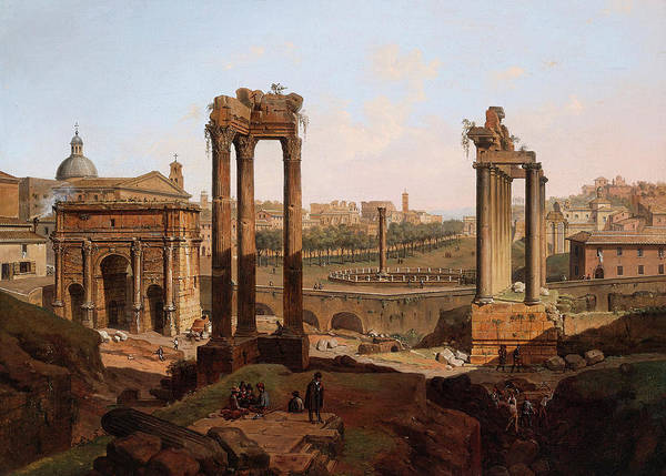 Collapse Painting - A View Of The Forum Romanum by Jean Victor Louis Faure