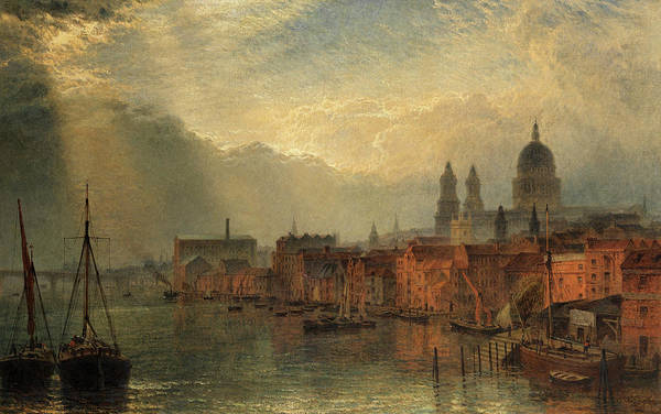 Wall Art - Painting - A View Of The River Thames Looking Towards St. Paul's by Henry Dawson