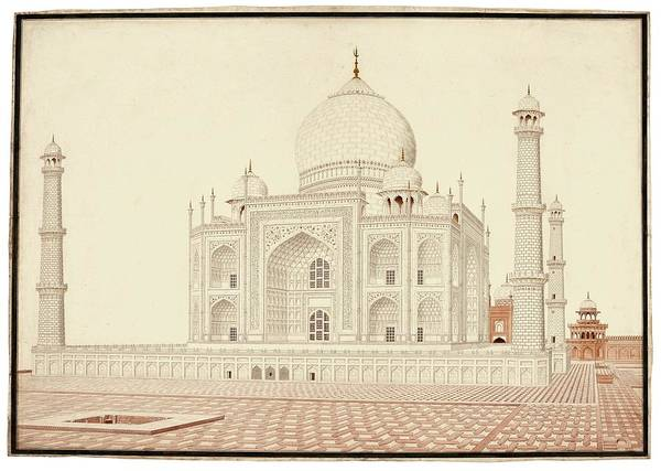 Wall Art - Painting - A View Of The Taj Mahal From The West Looking East, India, Company School, Circa 1813 by Celestial Images
