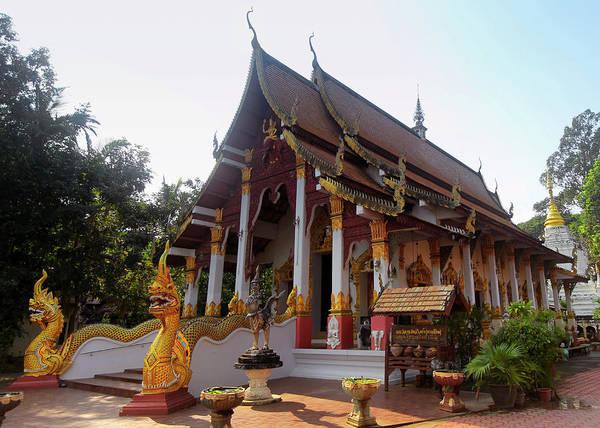 Chang Mai Wall Art - Photograph - A View Of Wat Chang Kam Phra Wihan, Wiang Kum Kam, Chiang Mai, T by Derrick Neill