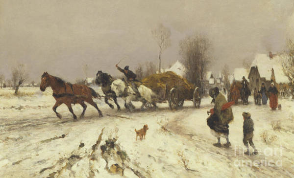 Wall Art - Painting - A Village In Winter, 1876 by Thomas Ludwig Herbst