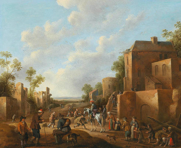 Wall Art - Painting - A Village Landscape With Country Folk Near A Tavern by Joost Cornelisz Droochsloot