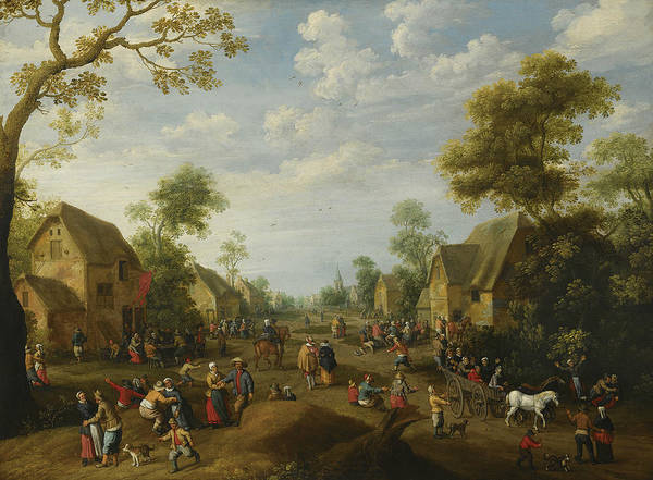 Wall Art - Painting - A Village With Numerous Peasants Feasting by Joost Cornelisz Droochsloot