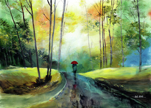 Painting - A Walk In The Rain by Anil Nene