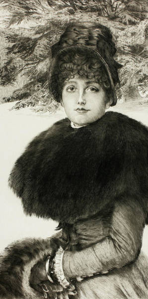 Wall Art - Relief - A Walk In The Snow by James Tissot