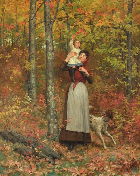 Jennie Photograph - A Walk In The Woods by Jennie Augusta Brownscombe