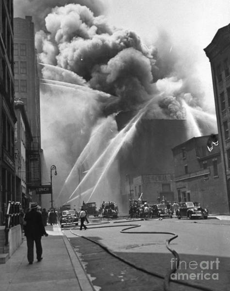 Photograph - A Warehouse Goes Up In Flames At The by New York Daily News Archive