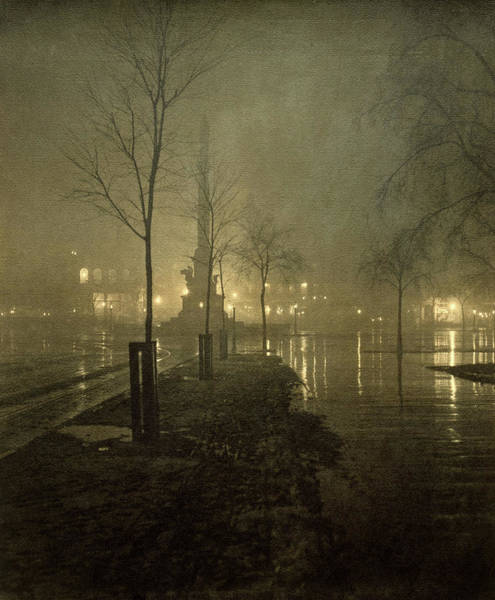 Wall Art - Painting - A Wet Night, Columbus Circle, 1898 by William Fraser