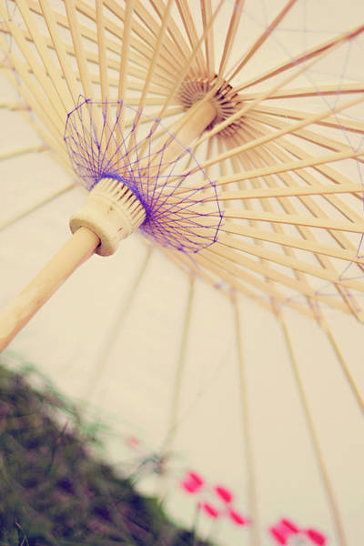 Parasol Photograph - A White Vinteage Parasol by Images By Debbie Wibowo