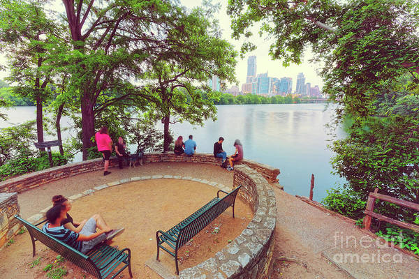 Photograph - A Window To The Downtown Austin Skyline From Lou Neff Point - Lady Bird Lake Texas Hill Country by Silvio Ligutti
