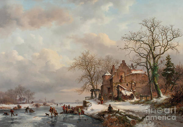 Winter Fun Painting - A Winter Landscape With Skaters On A Frozen River, 1862 by Frederick Marianus Kruseman