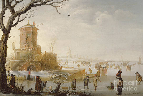 Figure Skater Painting - A Winter Scene With Figures On The Ice by Barent Avercamp