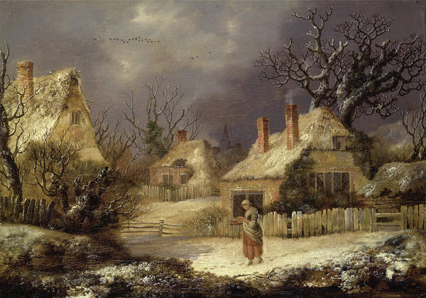 Painting - A Winters Landscape  by George Smith