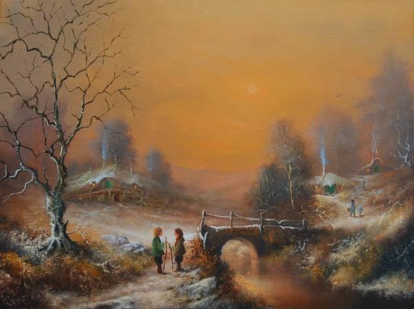 Yule Painting - A Winters Tale Snow Arrives In The Shire by Joe Gilronan