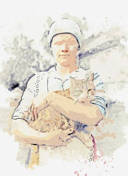 Wall Art - Painting - A Woman And A Cat Photographed By The Finland-swedish Poet Edith Sodergran Some Time Between 1910 An by Ahmet Asar