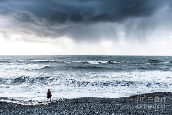Photograph - A Woman In The Sea On A Stormy Day  by Keith Morris