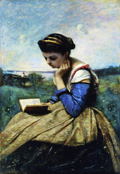 Wall Art - Painting - A Woman Reading - Digital Remastered Edition by Jean-Baptiste Camille Corot