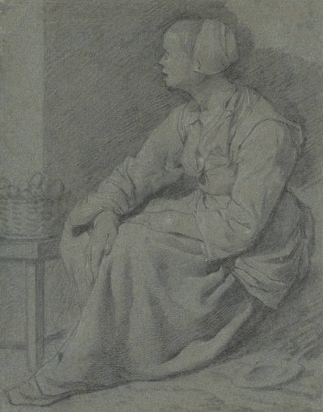 Wall Art - Drawing - A Woman Seated Near A Basket On A Stool by Cornelis Pietersz Bega
