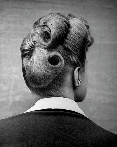 Hairstyle Photograph - A Woman Showing Her Fashionable Upsweepi by Nina Leen