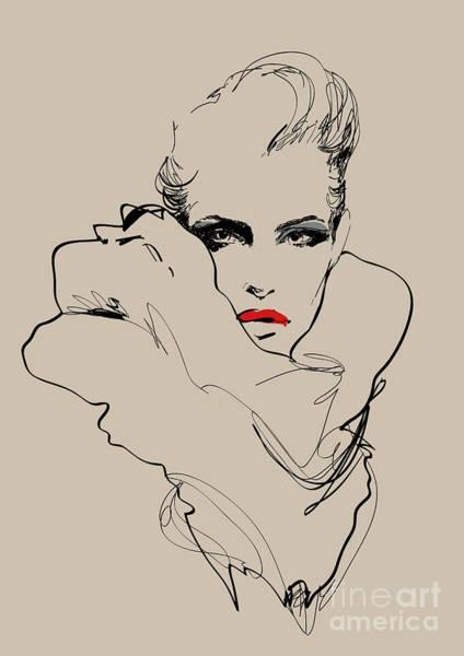Wall Art - Digital Art - A Woman. Vector Sketch In Fashion by Alisa Franz