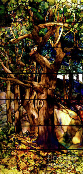 Wall Art - Glass Art - A Wooded Landscape Left Panel by Louis Comfort Tiffany