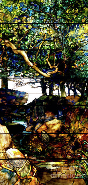 Wall Art - Glass Art - A Wooded Landscape Middle Panel by Louis Comfort Tiffany