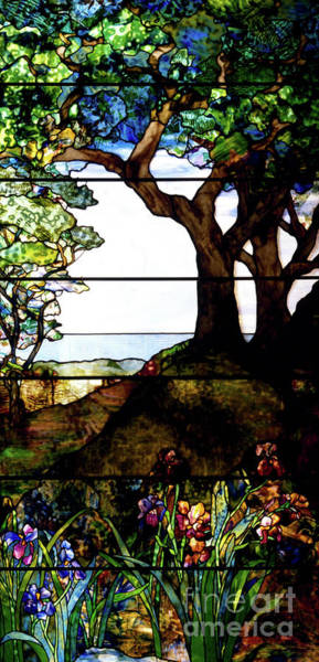 Wall Art - Glass Art - A Wooded Landscape Right Panel by Louis Comfort Tiffany
