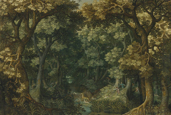 Painting - A Wooded Landscape With A Stag Hunt by David Vinckboons
