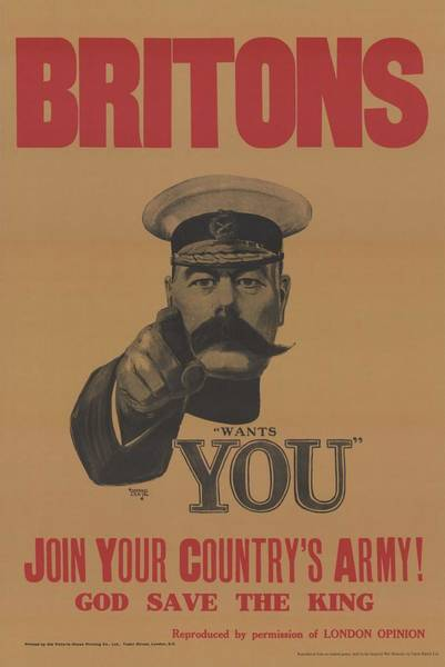 Wall Art - Painting - A World War I Recruitment Poster Featuring Lord Kitchener  British Minister Of War by Celestial Images