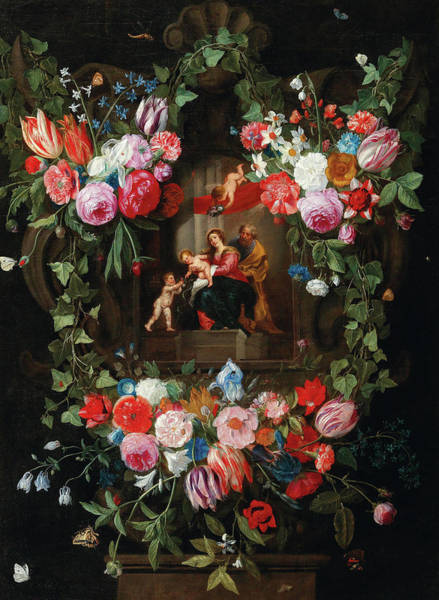 Tulip Bloom Painting - A Wreath Of Flowers Surrounding A Cartouche With The Holy Family And Putti by Jan van Kessel