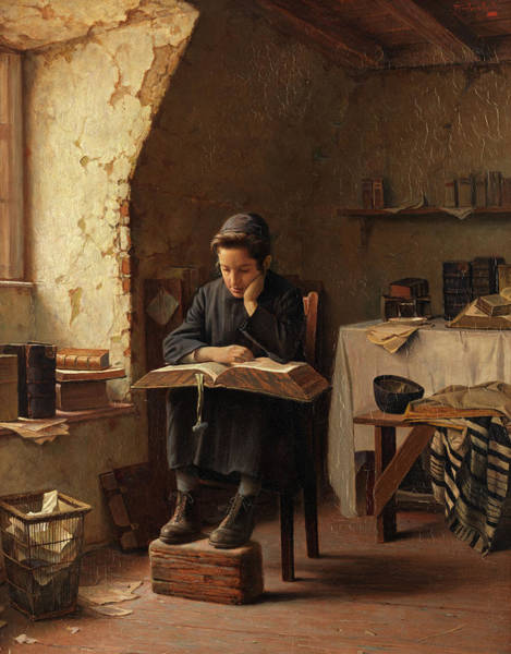 Wall Art - Painting - A Yeshiva Boy Reading by Alois Heinrich Priechenfried