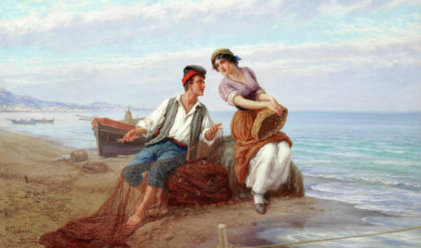 Wall Art - Painting - A Young Couple In The Bay Of Naples by Pietro Gabrini
