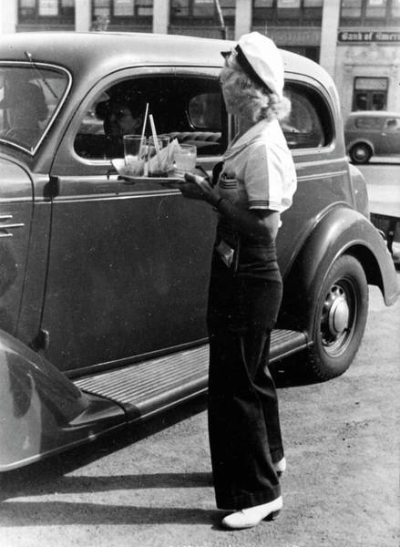 Customer Photograph - A Young Girl Carhop, Waiting On Customer by Alfred Eisenstaedt