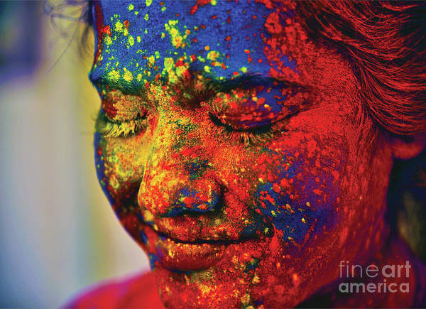 Wall Art - Photograph - A Young Indian Girl, Her Face Smeared by Anand Purohit