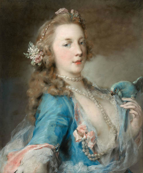 Wall Art - Pastel - A Young Lady With A Parrot by Rosalba Carriera