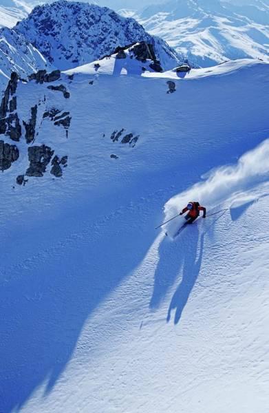 Ski Resort Photograph - A Young Skier, A Freerider Skiing In by Bernard Van Dierendonck / Look-foto