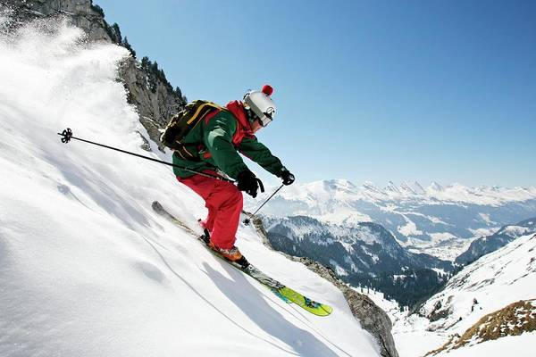 Ski Resort Photograph - A Young Skier, A Freerider Skis Down A by Bernard Van Dierendonck / Look-foto
