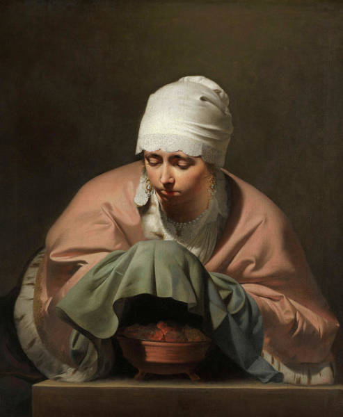 Poncho Wall Art - Painting - A Young Woman Warming Her Hands Over A Brazier Allegory Of Winter by Caesar Boethius van Everdingen