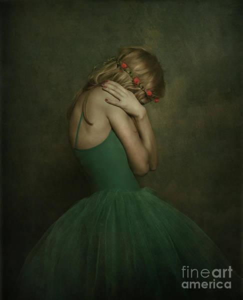 Wall Art - Photograph - A Young Woman Wearing A Green Tutu by Jelena Jovanovic