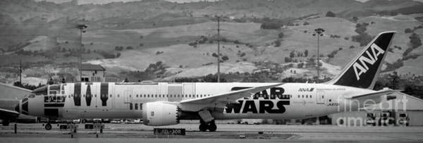 Wall Art - Photograph - A380 Ana Airlines Japan Star Wars Black White by Chuck Kuhn