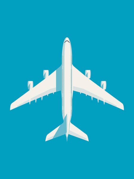 Wall Art - Digital Art - A380 Super Jumbo Jet Airliner - Cyan by Ivan Krpan