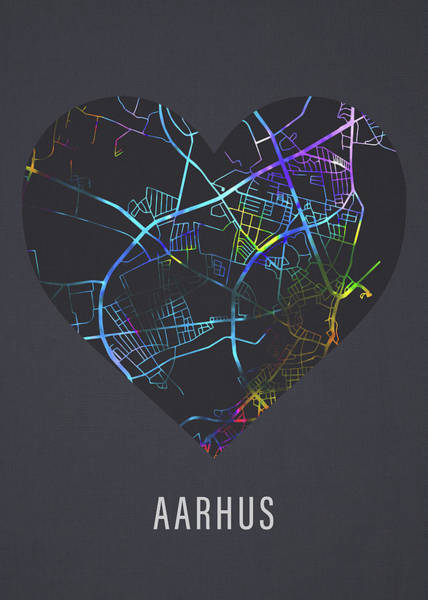 Wall Art - Mixed Media - Aarhus Denmark City Street Map Heart Love Dark Mode by Design Turnpike